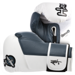 Hayabusa Tokushu 14oz Gloves - White/Steel Blue