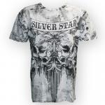 Silver Star Bloodclot Premium Silicone Washed T-Shirt (White)